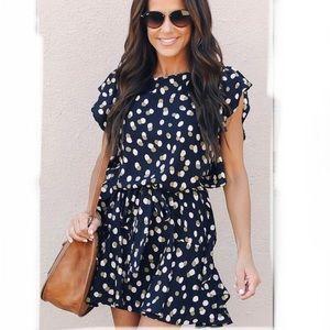 Vici navy blue polka dot flutter sleeve dress